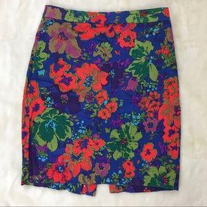 J Crew Pencil Skirt Blue Floral 4